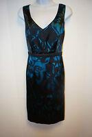 NWT $258 Tahari Georji Sleeveless Dress Black Deep Lake Blue Top 10/14/46 Womens