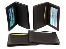 Leather Credit Card & ID Holder Slim Design Black Men's Wallet