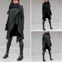 Vintage Femme Couleur Unie Casuel en vrac Manche Longue Loose Manteau Haut Plus