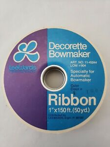 "Vintage LeeWards Decorette Bowmaker Ribbon ~110 Feet x 1"" White Satin & Lace"