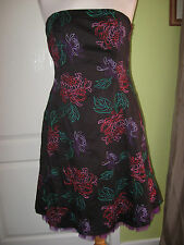 DEBUT SIZE 10 LADIES BLACK MIX EMBROIDERED STRAPLESS SUMMER PARTY DRESS