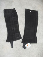 NEW DEMINK COLLECTION HALF CHAPS BLACK SUEDE LEATHER, SIZE MEDIUM