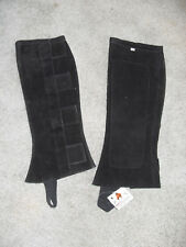 NEW DEMINK COLLECTION HALF CHAPS BLACK SUEDE LEATHER, SIZE X LARGE