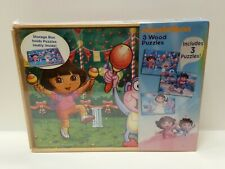 Dora The Explorer Diego Nickelodeon Three Wooden Puzzles Wooden Storage Box New
