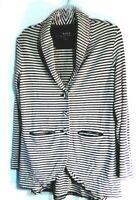 Soma Live Lounge Wear Women's Cardigan Sz S Black White Stripe Button Up