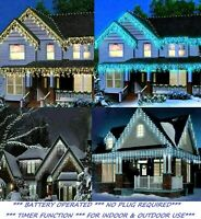 Icicle Lights Outdoor Christmas Battery Xmas LED Snow Effect Outside Roof Indoor