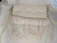 Vintage Steve Madden Handbag Leather Fringe White Inside Yellow