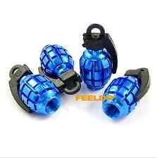 4 Pcs Blue Grenade Style Wheel Tyre Tire Valve Caps Stems Dust Cover For BMW E81