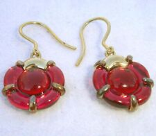 Baccarat B Flower Red Mirror Crystal Earrings in Gold Vermeil #2807675 New