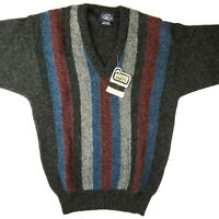 Vintage Woolrich NWT Men's Pure Wool V-Neck Striped Cable Knit Sweater M/L