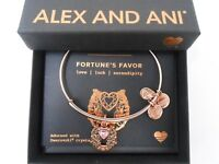 Alex and Ani Fortune's Favor Bangle Bracelet ROSE GOLD New Tag Box Card