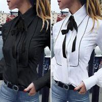 UK Women OL Office Work Long Sleeve Tops Vintage Ladies Slim Shirt Blouse Plus