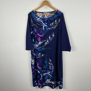 Millers Womens Dress Plus Size 16 Blue Floral Long Sleeve Boat Neck 31.22