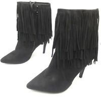 Womens Ladies Black Faux Suede High Heel Fringe Shoes Ankle Boots Size UK 8