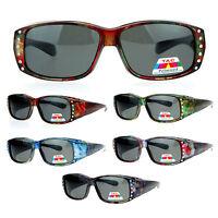 SA106 Womens Floral Print Anti Glare Polarized 60mm Fit Over OTG Sunglasses