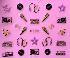 Nail Art 3D Decal Stickers Music Microphone Stars Record Cassette Tape XJ066