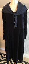 VTG Laura Ashley Dark Blue Velvet Shawl Collar Dress Long Sleeve Sz 12 Modest