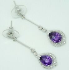 Sparkling 14KT White Gold and Amethyst Earrings with Diamonds 5.5 Grams