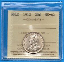 Canada Newfoundland 1912 20 Cents Twenty Cent Silver Coin - ICCS MS-62