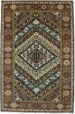 Colorful Orange Tribal Geometric Hand-Knotted 6X9 Kazak Oriental Area Wool Rug