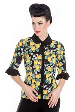 HELL BUNNY Jacqueline ~ 60s Lemon 3/4 Sleeve Blouse ~ Pinup Retro Plus Size