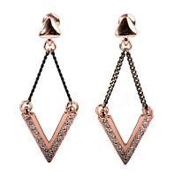 Swarovski Elements Crystal Delta V Shaped Earrings Rose Gold Authentic New 7310v