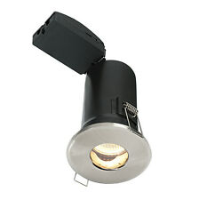 SAXBY SHIELD Brushed Chrome Fire Rated Bathroom Downlight GU10 Ceiling Spotlight
