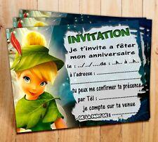 Cartes invitation anniversaire Fée Clochette  par  6 - 12 ou 18