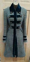 KAREN MILLEN 12 BOUCLE WOVEN VIRGIN WOOL MILITARY LONG WINTER DRESS COAT