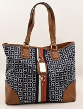 TOMMY HILFIGER Monogram Fabric/Faux Leather Tote Bag, Navy Blue/Tan