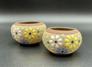 (2) Hand painted Florals In The Desert Mexican clay graduated pots/planters