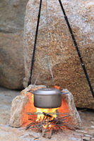 Outdoor Cooking Camping Campfire Bonfire Party Hanging Pan Pot Titanium Chain