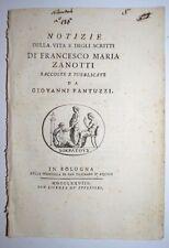 VITA DI  ZANOTTI -  ediz. 1778 - MATEMATICA - bibliografia