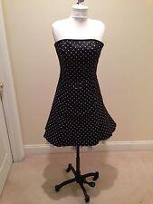 Jessica McClintock Black/white Strapless Polka Dot Dress Size 9/10