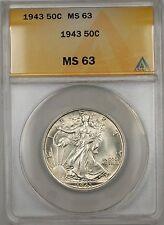 1943 Walking Liberty Silver Half Dollar 50c ANACS MS 63 (Better Coin)