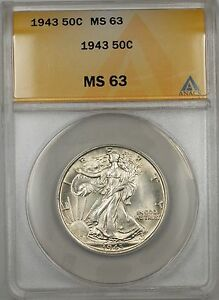 1943 Walking Liberty Silver Half Dollar 50c ANACS MS 63 (Better Coin)