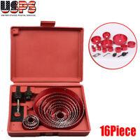 16pcHole Saw Drill Bit Hole saw Wood Sheet Metal Woodworking Tool  Kit US