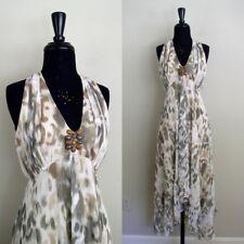 Chicos Womens Halter Dress Animal Print Brown White Jeweled Neckline Sz 1 M 8 10