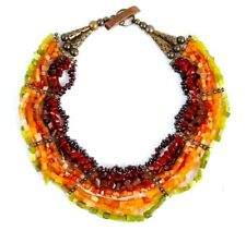 Red Orange Glass Necklace Sustainable Design Exclusive Ethic Pejibaye Statement