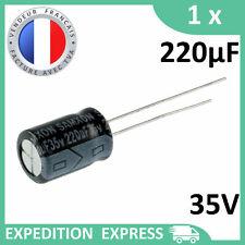 Condensateur électrolytique 220µF 220uF 35V radial 105°C THT chimique