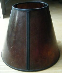 """Vintage Mission Arts & Crafts Style Mica Style Lamp Amber Shade 8"""" X 10"""""""