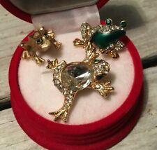 3 Small Frog Brooch/Lapel Pins Rhinestone Enamel Gold Tone Lot