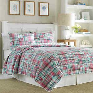 Nautica SUTTER CREEK Quilted Standard Pillow Sham Madras Plaid Pink Teal