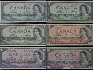1954 Canada Lot of 6 Devil's Hair Notes 3 $1 1 $2 2 $10 No Reserve .99C Open Bid