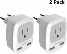 European Plug Adapter 2 Pack TESSAN 3 in 1 Travel Power Outlet with Dual USB EU