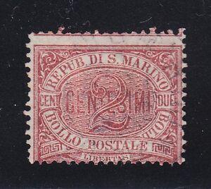 San Marino 1894 Mi 26 Sc 3 claret 2c mint hinged stamp CV 16$