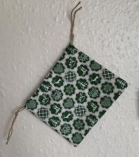 Green Christmas Pattern Handmade Drawstring Gift Bag