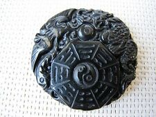 37-38mm Chinese Dragon and Phoenix with Ba Gua Mirror Black Agate Carved Pendant