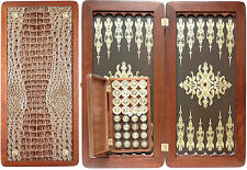 "Excellent quality  Handmade backgammon set. 100% wooden (ash). New. 20"" NIB."