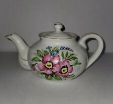 Pink Flowers Floral Embossed Design White Teapot Occupied Japan